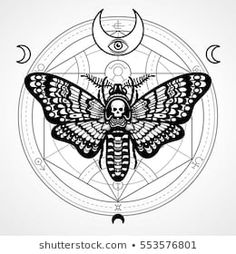 Monochrome drawing isolated on a grey background. Print, posters, t-shirt, textiles. Head Tattoos, Skull Tattoos, Cool Tattoos, Totem Tattoo, Esoteric Tattoo, Esoteric Art, Skull Butterfly Tattoo, Moth Tattoo Design, Moth Drawing