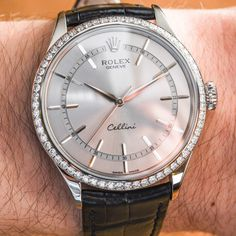 """Rolex Cellini Time Diamond-Set Bezel Watch Hands-On - by Ariel Adams - on aBlogtoWatch.com""""It is actually a pity that I don't personally have more occasions to wear a timepiece such as the Rolex Cellini. Very much distinct from the famed Swiss watch maker's more sporty products, this is the formal-blood of today's Rolex brand. When Rolex recently debuted a brand new version of the Rolex Cellini dress watch collection in 2014, they didn't just offer one new watch, but a trio of models..."""""""