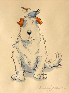 Watercolour and ink illustration by Anita Jeram. 'He just sat and waited for Harry' from children's book 'The Most Obedient Dog in the World'