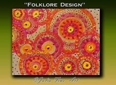 Check out Ethnic Painting, Large Abstract Print, Floral Art, Folk. Folklore, Orange Painting, Circles, Red, Yellow, Gold, Geometric, Julia Apostolova on juliaapostolova