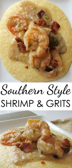 Easy Shrimp Grits Recipes Here's an easy southern style shrimp and grits recipe that's hearty and delicious. Easy Shrimp Grits Recipes Here's an easy southern style shrimp a. Healthy Recipes, Fish Recipes, Seafood Recipes, New Recipes, Favorite Recipes, Soul Food Recipes, Shrimp Recipes For Dinner, Healthy Food, Recipies