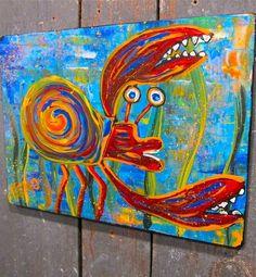 ~HERMiT CRAB~FiSH~ Maine~FOLK ART outsider ~COASTWALKER