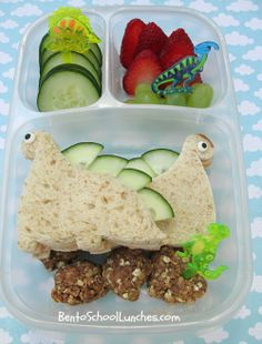 Dinosaurs bento and No Bake Energy Bites with Recipe at blog packed in our @EasyLunchboxes