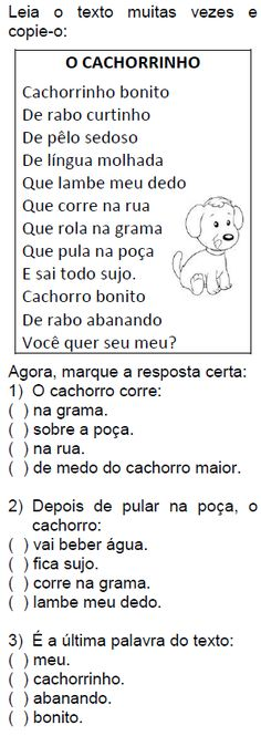 Texto O CACHORRINHO
