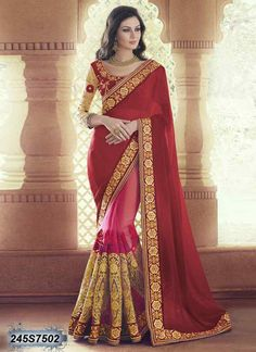 Enticing Red and Pink Coloured Net Embroidered Saree