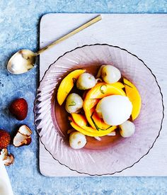 Lychee and mango with lime-coconut syrup and lemon gelato recipe :: Gourmet Traveller