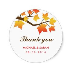 Bright and Colorful Autumn Maple Leaves Thank You Sticker #wedding #bride #fall season