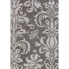 Hand-tufted Grey Floral Wool Rug