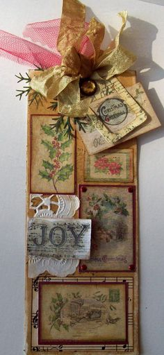 long vintage Christmas tag - JOY - Scrapbook.com