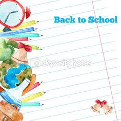 Vector watercolor back to school poster with supplies -  alarm clock, pencils, globe on notebook paper background. — Ilustração de Stock #78515948