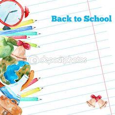 Vector watercolor back to school poster with supplies -  alarm clock, pencils, globe on notebook paper background. — Ilustração de Stock #78515948