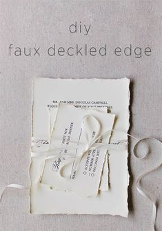 Making your own wedding invitations is easier than you think! Learn how to DIY Faux Deckled Edge wedding stationery for your wedding invitation or favors. #weddingfavors #weddinginvitations #weddingstationerydiy #diyweddingstationery #diyweddingtutorials