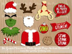 The Grinch Christmas Photo Booth Props by ThePartyFactoryWorld