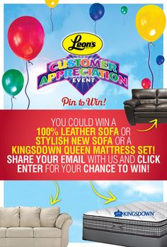 PIN TO WIN has officially started!! Head to www.facebook.com/LeonsFurniture and click the PIN TO WIN Tab on Facebook. Happy Pinning!! Mattress Sets, Queen Mattress, September 9, Customer Appreciation, Be My Baby, I Win, Better Homes And Gardens, Home Projects, Cool Things To Buy