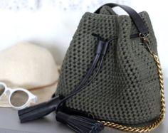 Crochet bucket purse | Mini bucket bag | T shirt yarn green purse | Crochet crossbody purse | 2017 Trend accessories | Shoulder bucket bag
