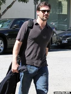 Jon Hamm. Date unknown. Not much is known about the mysterious creature that lives in Jon Hamm's pants, except that it takes up a lot of space. It probably needs some oxygen in there. Here's hoping that Jon frees that thing soon. There's a reason his girlfriend always looks happy in photos.