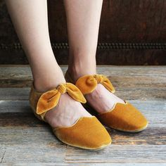 F-TROUPE - Velvet Bow Sandal Shoe (GOLD)/ エフトゥループ・ベルベットリボンシューズ