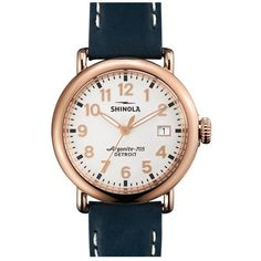 Shinola 'The Runwell' Leather Strap Watch, 36mm ($600) ❤ liked on Polyvore featuring jewelry, watches, steel jewelry, hand crafted jewelry, steel watches, handcrafted jewelry and leather-strap watches