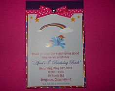 My Little Pony (Rainbow Dash) Invitations. These can be changed to any pony.