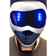Original Huboptic Blue Eyes FX Navy Gray Mask DJ Mask Light Up Mask... ($50) ❤ liked on Polyvore featuring costumes, role play costumes, ninja costume, navy costume, cosplay halloween costumes and navy halloween costume