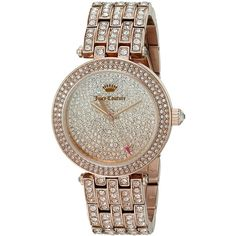 Juicy Couture Cali Analog Display Japanese Quartz Rose Gold-Tone Watch ($184) ❤ liked on Polyvore featuring jewelry, watches, rose gold tone watches, rose gold tone jewelry, studded watches, water resistant watches and quartz movement watches