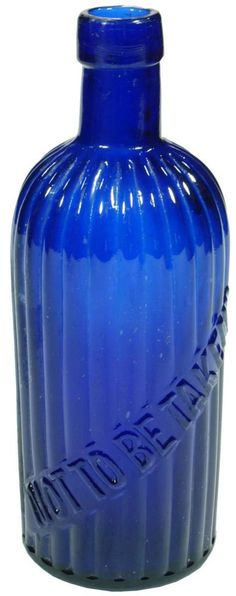 """""""Not to be Taken"""". Ribbed, round blue antique poison bottle. c1900s"""