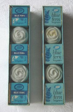 Boots Blue Fern gift sets x 2 bath cubes and soaps c 1970s