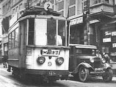 Tramlijn 2 reed heel vroeger door de Bakkerstraat in Arnhem.