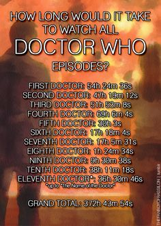 How long would it take to watch all Doctor Who episodes? - Doctor Who Official on Tumblr// That's 15 (.5) days, Or just over 2 weeks.