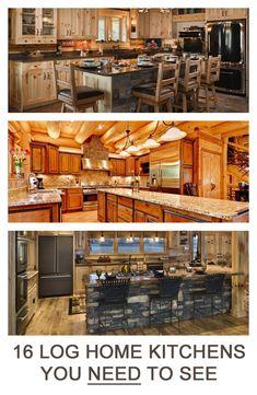 16 Amazing Log House Cabin Kitchens
