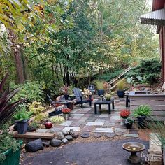 The combination of new materials with architectural salvage and garage-sale finds creates this truly one-of-a-kind and low-cost patio. The tree-covered area right outside the walkout basement serves as the patio site. The homeowner built a retaining wall and used crushed-limestone fill to level the steeply sloped space./