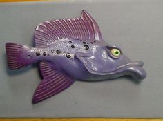 artistic ceramic fish wall hanging, signed by artist purple