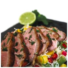 Gressingham Duck® breast with a Vietnamese noodle and mango salad.