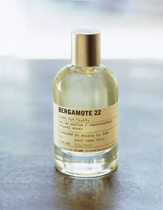 Bergamot, which is mixed with vetiver and musk, a deep citrus scent. BERGAMOTE 22, LE LABO