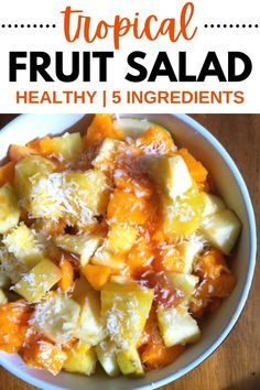 This tropical fruit salad is such a delicious healthy fruit salad recipe. With just 5 ingredients, it's simple to make too.