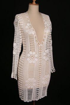 Hand Crocheted Crochet Tunic Beach Wear White by crochetbutterfly, $155.00