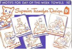 7 MOTIFS FOR DAY OF THE WEEK KITTEN TOWELS TO EMBROIDER...FREE DOWNLOADS PATTERNS
