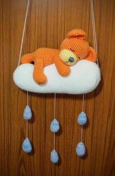Sweet Dreams Bear Mobile - a One and Two Company Crochet pattern - made with 4ply yarn, cloud is 8 inches across