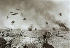The Battle of Zonnebeke, Flanders, in the summer of 1917. Picture made by the Australian army photographer Frank Hurley For this picture Hurley combined three different photographs he had taken on the battlefield: the aeroplanes in the air, the soldiers leaving their trench on the left, and the soldiers on the right. WWI