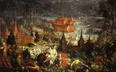Cristóbal de Villalpando, 'El diluvio', 1689, óleo sobre lámina de cobre, 59 x 90 cm. Catedral de Puebla, México / arte, pintura, novohispano, virreinal, barroco