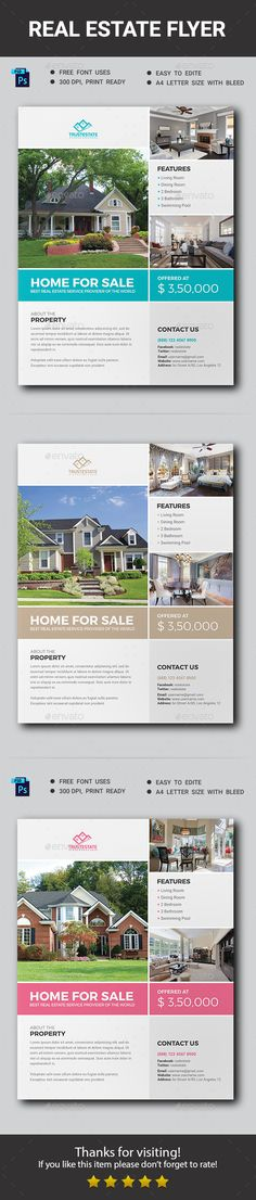 Buy Real Estate Flyer by ResearchStudio on GraphicRiver. This is a Real Estate Flyer for all kind of Real Estate business purpose usages. This template is very easy to edit a. Real Estate Forms, Real Estate Flyers, Real Estate Business, Real Estate Tips, Real Estate Investing, Real Estate Marketing, Free Psd Flyer Templates, Flyer Free, Business Flyer Templates