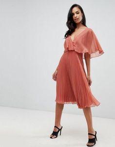 e478a6597e2ea Achetez ASOS DESIGN - Robe mi-longue à manches évasées avec jupe plissée  sur ASOS