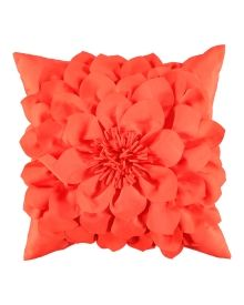 Indoor/Outdoor Sunnyside Camelia Decorative Pillow -  A floral embellishment on the front adds dimensional style to this decorative pillow. Designed with an indoor/outdoor cover that's soil, stain and mildew resistant. Solid on reverse.