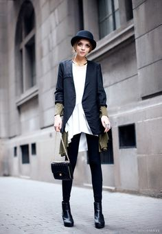 Street style ~ I'd ditch the hat (can't pull that off) and wear to work for casual day.