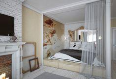 Michael Parkes wallart, bed podium, modern classic interior, design interior by Nataly Yanson, iamhome. Кровать-подиум, совмещенная спальня, современная классика, арт в интерьере.
