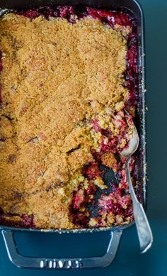 Recipe: Tart Cherry Crumble Recipes from The Kitchn; made this for New Years with some changes. (Added lemon juice, extra ginger, subbed pumpkin pie spice for cinnamon, used 1.5 eggs--seemed too dry with just one.)