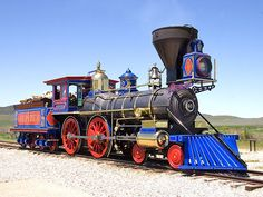 A recreated CP # 60 steam locomotive at the Golden Spike National Historic Site in Utah. Locomotive Diesel, Steam Locomotive, Central Pacific Railroad, Golden Spike, Old Steam Train, Tramway, Bonde, Train Art, Old Trains