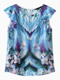 Blue Floral Ruffle Sleeves T-shirt | Choies