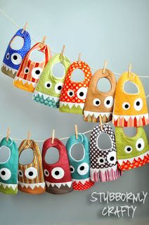 Monster Bib {Pattern & Tutorial} - Stubbornly Crafty put face on back of DIY tshirt Baby Sewing Projects, Sewing For Kids, Sewing Tutorials, Sewing Crafts, Sewing Patterns, Free Tutorials, Baby Bibs Patterns, Free Sewing, Tutorial Sewing