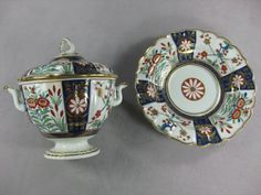 "A  rare Flight Worcester  period two handled tureen , cover and stand. Painted in the Imari style with the rich "" Queens pattern"" Open crescent  Circa 1780 Height"